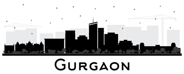 Gurgaon India City Skyline Silhouette with Black Buildings Isolated on White.