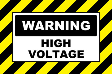 high voltage warning sign placard board