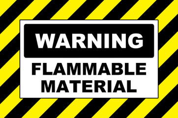 flammable material warning sign placard board