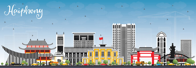 Haiphong Vietnam City Skyline with Gray Buildings and Blue Sky.