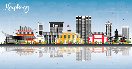 Haiphong Vietnam City Skyline with Gray Buildings, Blue Sky and Reflections.