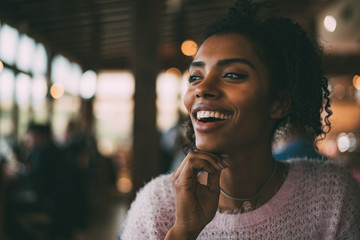 Happy beautiful black woman