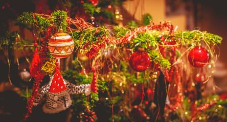 christmas balls on a Christmas tree closeup