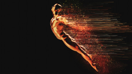 3D rendering,Jumping in the air golden male body particles trailing, robot, the future of artificial intelligence creative abstract concept background
