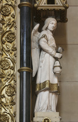 Angel at the altar of the Holy Cross in Zagreb cathedral dedicated to the Assumption of Mary