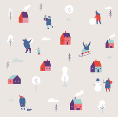 Winter season background simple people characters. Vector simple pattern on winter holiday season and Christmas. Flat vector illustration.