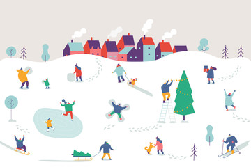 Winter outdoor activities. Snowy city background. People walking,having fun, skiing, ice skating, sledding. Flat vector illustration.