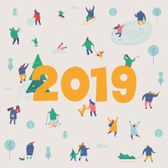 Happy new 2019 year banner card. Winter outdoor activities. People walking,having fun, skiing, ice skating, sledding. Flat vector illustration.