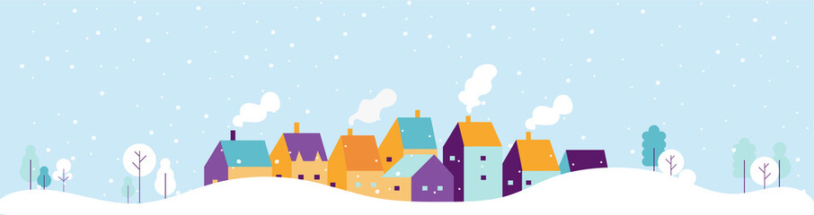 Winter city landscape. Snowy city background. Flat vector illustration. Fototapete