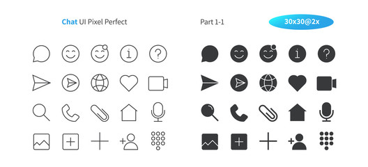 Chat UI Pixel Perfect Well-crafted Vector Thin Line And Solid Icons 30 2x Grid for Web Graphics and Apps. Simple Minimal Pictogram