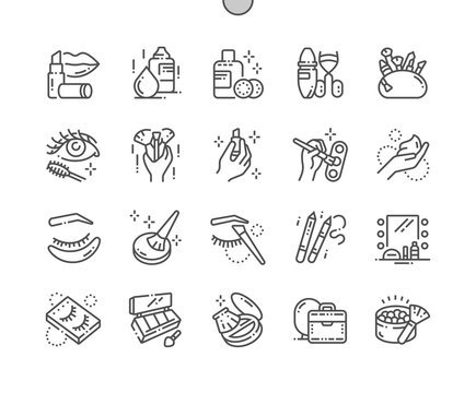 Makeup Well-crafted Pixel Perfect Vector Thin Line Icons 30 2x Grid for Web Graphics and Apps. Simple Minimal Pictogram
