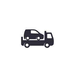 Car towing truck icon on white