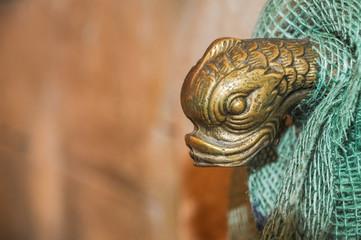 antiker Wasserspeier Entenkopf aus Bronze