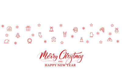 Merry Christmas and Happy New Year. Banner design for Winter season Holidays.