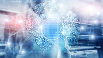 3D earth hologram, Globe, WWW, Global Business and Telecommunication.