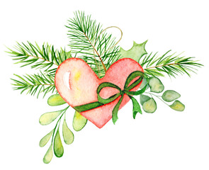 Merry Christmas watercolor wreaths with floral winter elements. Happy New Year card, posters.