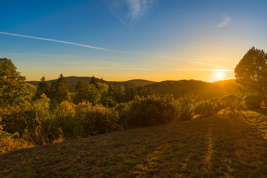 Sunset in Sankt Andreasberg, National Park Harz, Lower Saxony, Germany
