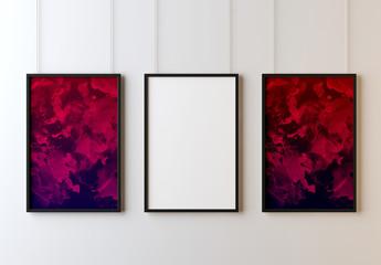 Modelli di cornici appese in galleria