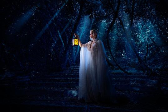 Elf girl in night forest version