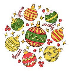 Circle shape with christmas balls. Isolated objects