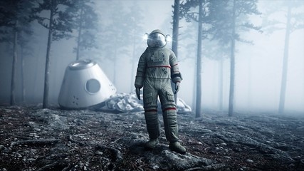 Astronaut in fog night forest. Fear and horror. landing place. 4K animation. 3d rendering.