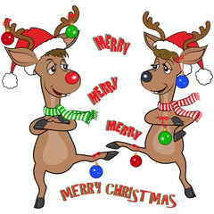 Cartoon of two funny reindeer, one male one female, dancing, looking at each other.  They are wearing Santa hats and have Christmas decorations hanging from their antlers and legs.