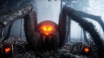scary gigant spider in fog night forest. Fear and horror. Mistic and halloween concept. 3d rendering.