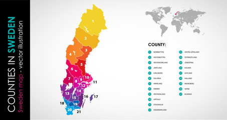 Vector map of Sweden country rainbow colors