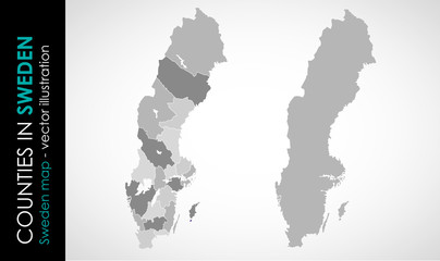 Vector map of Sweden country gray color