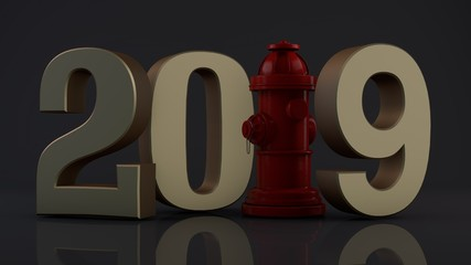 3D illustration of 2019. hydrant instead of a unit, the idea of celebration, a year of security, fire system. 3D rendering isolated on white background.
