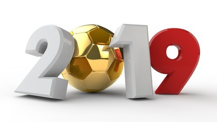 3D illustration of 2019 date, with a soccer ball. The idea for the calendar, 3D rendering of the world Cup, the victory date. The Golden ball, precious, the prize for winning.