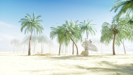 Funny astronaut dancing on sunny seaside. Tourism and rest concept. 3d rendering.