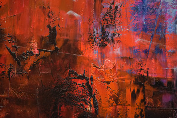 Foto auf Leinwand Braun red and blue oil paint background
