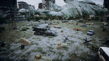 Apocalypse of USA, America. Aerial View of the destroyed city. Apocalypse concept. 3d rendering.