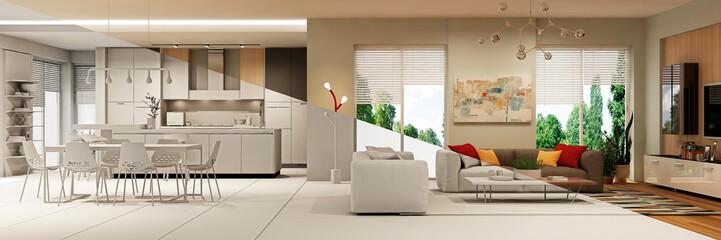 Modern house interior. 3d rendering. Concept