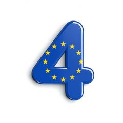 Europe flag number 4 -  3d european union digit - Europe, Brussells or patriotism concept