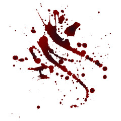 Realistic bloody splatters. Drop and blob of blood. Bloodstains. Isolated. Vector illustration isolated on white background. Red puddles