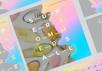 Futuristisches Set mit Farbklecksen für soziale Medien