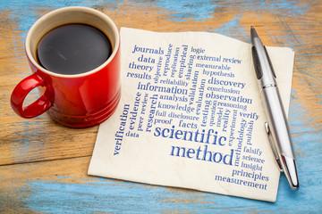 scientific method word cloud on napkin