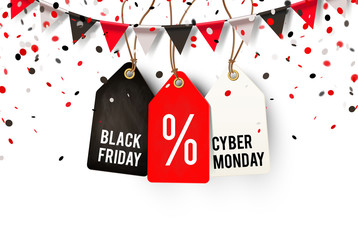 Black Friday und Cyber Monday Etiketten mit Wimpel Girlande und Konfetti