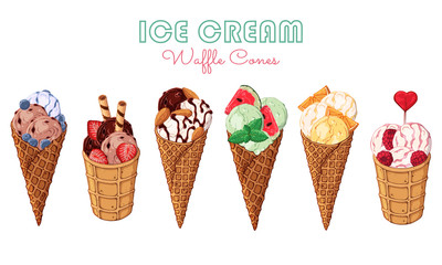 Group of vector colorful illustrations on the sweets theme; set of different kinds of ice cream in waffle cones decorated with berries, chocolate or nuts. Realistic isolated objects for your design.