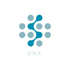 Circles Vector Icon. DNA Logo Template. Science Logotype. Dots abstract symbol. Isolated vector illustration on blank background.