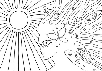 Vector black and white hand drawn illustration of psychedelic woman face with sun, abstract tree, flowers, leaves, dots, butterfly, background Decorative artistic picture, line drawing. Coloring