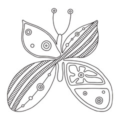 Vector hand drawn black and white illustration of isolated butterfly with decorative geometrical elements, lines, dots. Picture for coloring. Line drawing. Graphic illustration