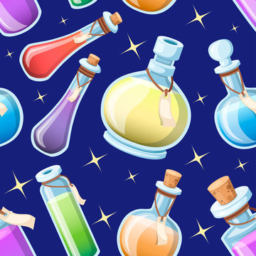 Seamless pattern. Set of magic potions. Bottles with colorful liquid. Game icon of magic elixir. Purple potion flat icon. Mana, health, poison or magic elixir. Vector illustration on sky background