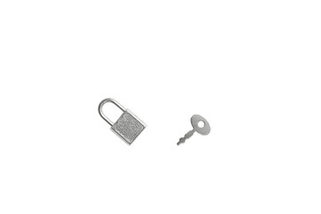 Small silver padlock and key. White isolate.