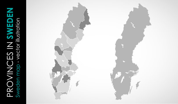 Vector map of Sweden province gray color