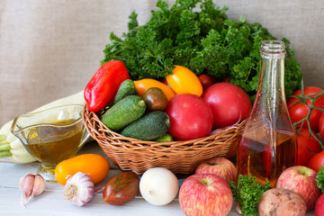 Composition of fresh vegetables and fruits.
