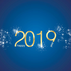 Happy New Year 2019 greetings light sparkle firework gold blue vector