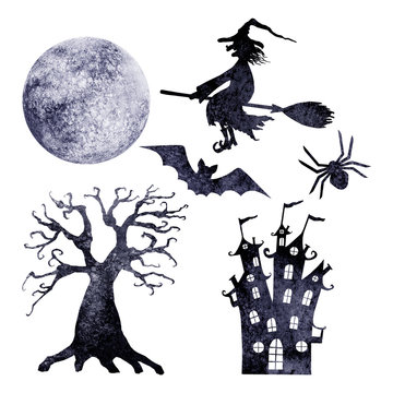 Halloween watercolor silhouettes set